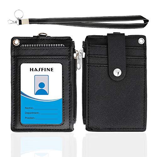 【2020 Upgreded】Badge Holder with Zipper,HASFINE Cute Id Badge Holder Wallet Leather Credit Card Holder Zipper Wallet with Lanyard, 2 Sided 5 Card Slots and Key Chain for Boys Girls Office Staff Women