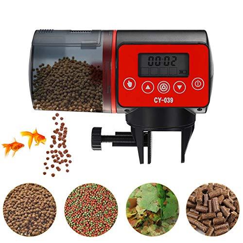 upstartech Alimentador automático,Comedero de Peces Automáticos,Digital Alimentador de Peces con Cargador USB,Pantalla LCD,Pecera,Dispensador de Comida para Peces para acuarios, acuarios y Tortugas