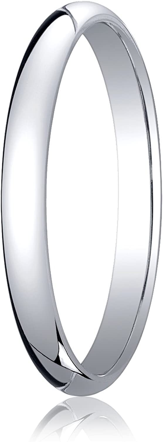 Women's Platinum 2.5mm Traditional Dome Oval Wedding Band Ring