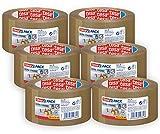 tesapack - Cinta Adhesiva para Embalar, Sellar y Empaquetar - Resistente al envejecimiento y al desgarro - sin disolventes - 6x 66 m x 50 mm - Marrón