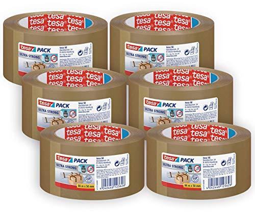 tesapack Ultra Strong im 6er Pack - PVC-Klebebänder für festes Verpacken und sicheres Bündeln - Braun - 6 Rollen je 66 m