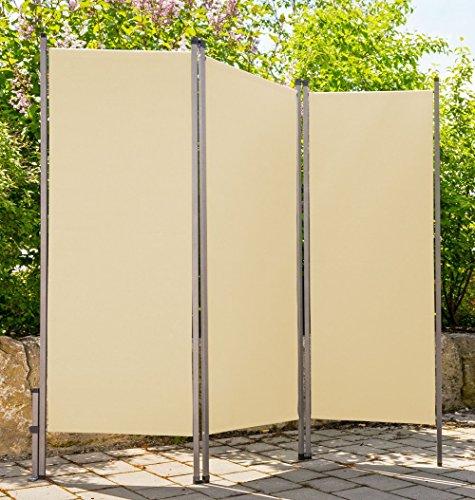 CV Outdoor Paravent Creme beige Metall/Stoff Sichtschutz Windschutz Sonnenschutz für draussen