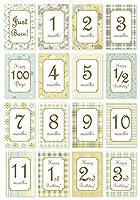 マンスリーカード/月齢カード 「GREEN PATTERNS」 赤ちゃん ベビーカード メッセージカード 誕生日カード 出産祝い 子供 ハガキサイズ おしゃれ
