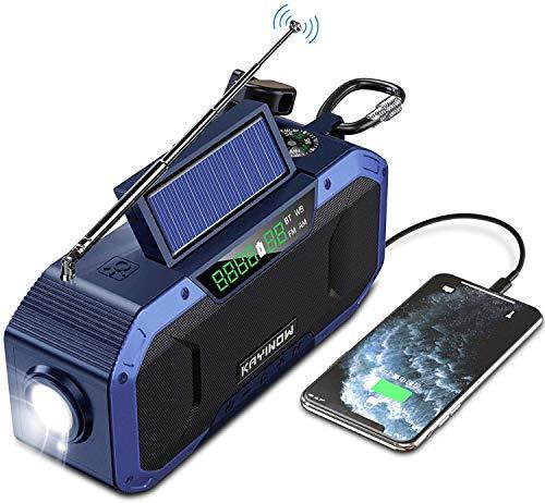 Hand Crank Emergency Weather Radio w/Bluetooth Speaker - IPX5 Waterproof NOAA AM FM Radio, 5000mAh Power Bank, Solar Radio Portable, Radio for Home Camping,SOS Alert,USB Cell Phone Charger, Flashlight