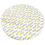 Round Tablecloth with Elastic, Vinyl Table Cloth with Flannel Backing, Waterproof Outdoor White Plastic Table Cover for 40