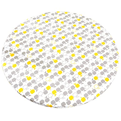 Round Tablecloth with Elastic, Vinyl Table Cloth with Flannel Backing, Waterproof Outdoor White Plastic Table Cover for 40'-44' Round Tables Patio or Dining Room Party Picnic, Apples