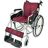 ケアテックジャパン 自走式 アルミ製 折りたたみ 車椅子 ハピネス ワインレッド CA-10SU