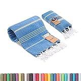 Realgrandbazaar Lucky Turkish Towels Beach Towels %100 Cotton - Pre Washed, No-Shrink, Quick Dry, Soft 39x71' Large Peshtemal, Turkish Towel, Set can be Made - Goqan by realgrandbazaar (Azure)