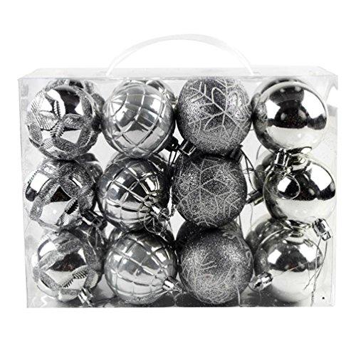Fulltime® Décorations de Noël, 24Pcs/Pack 60 mm Noël Tree Ball Boules accrochage décoration fête Ornement (Argent)