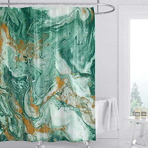 Patrón de mármol de Onda Verde, Antibacteriano, Libre de contaminación, fácil de Limpiar, Cortina de bañera Multifuncional-El 150x180cm Accesorio de baño Moderno para la Ducha