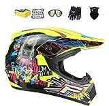 NJYBF Casco da Motocross, Casco da Motociclista Unisex, Moto da Cross Casco Completo Casco da Corsa Road Set, con Occhiali/Maschera/Guanti regalo di ideale per bambini (M (54-55 cm))