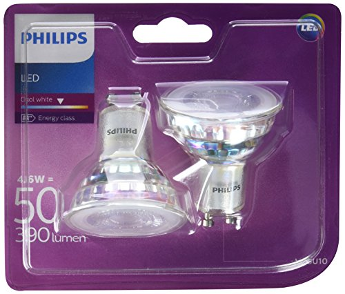 Philips - Bombilla LED Foco GU10 Cristal, 4.6 W Equivalente a 50 W, Luz Blanca Fría, No  Regulable - Pack de 2