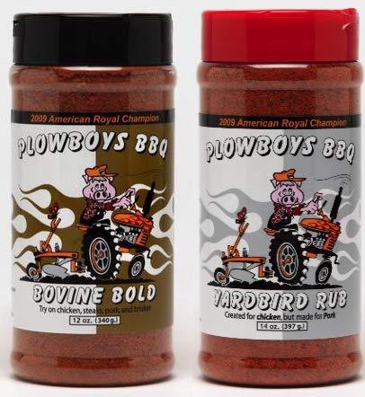 Plowboys BBQ Rub Combo - Yardbird (14 oz) & Bovine Bold (12 oz) - Large Sizes