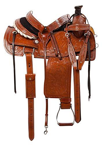 Deen, Enterprises, Wade Tree A Fork - Silla de montar de caballo de trabajo de cuero occidental, tamaño de 14 a 18 pulgadas, asiento disponible (asiento de 15.5 pulgadas) (asiento de 16 pulgadas)