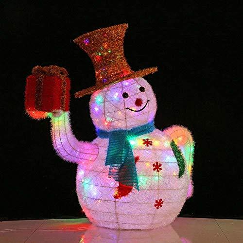LYYAN Beste Weihnachten Deko LED Schneemann mit Goldhut Geschenkbox Figur Beleuchtet Bunte Lichter Metall Eisen Rahmen Woollen für Innen Außen,Bunt Geschenk