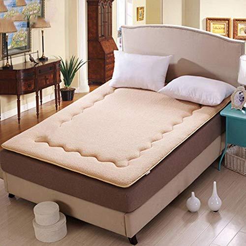 LBYLY Single Mattress, Lamb Velvet Mattress, Wool Thickened Adult Mattress, Foldable,1.8x2.0m-Yellow