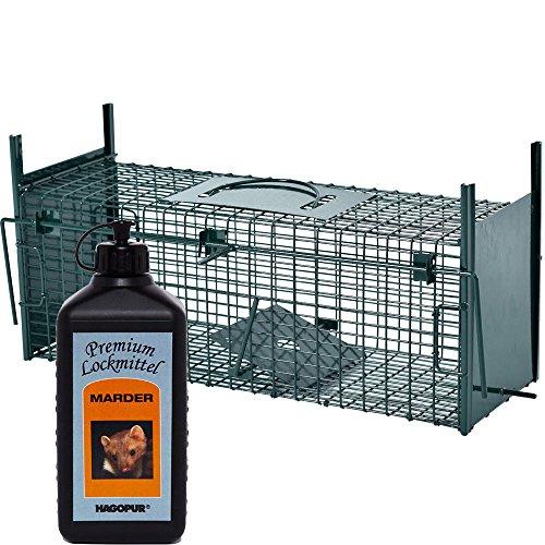 PROHEIM Lebendfalle Secure-S 53 cm + 100 ml Hagopur Marder Lockstoff - zuverlässige & sichere Tierfalle mit 2 Eingängen - sofort einsatzbereit & wetterfest - ideal für Ratten, Iltis, Marder