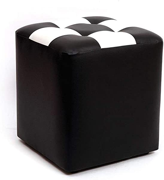 Carl Artbay Wooden Footstool Black White Plaid Square Stool Make Up Stool Children S Leather Stool Waterproof Home