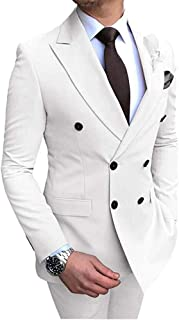 Botong Men's 2 PC Double Breasted Wedding Suits Slim Fit Notch Lapel Groom Tuxedos Prom Party Suits