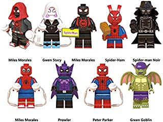 GINKO 9pcs Miles Morales Spider Ham Prowler Peter Parker Green Goblin Super Hero Mini Action Figure Set Marvel Super Hero Fit Toys