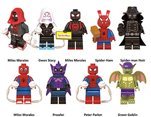GINKO 9pcs Miles Morales Spider Ham Prowler Peter Parker Green Goblin Super Hero Mini Action Figure Set Super Hero Fit Toys