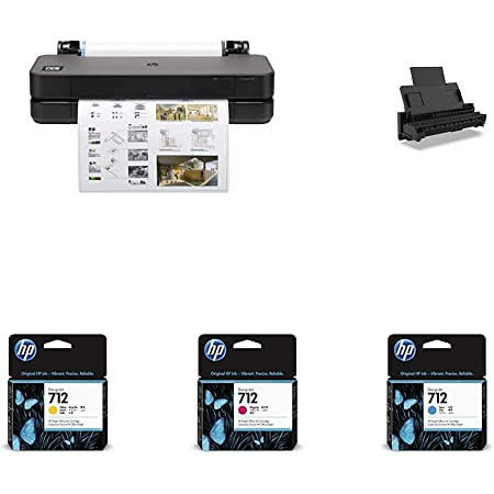 """HP DesignJet T230 Large Format Compact Wireless Plotter Printer - 24"""" (5HB07A), with Standard Genuine Ink Cartridges (4 Inks) & Auto Sheet Feeder with Tray - Bundle"""