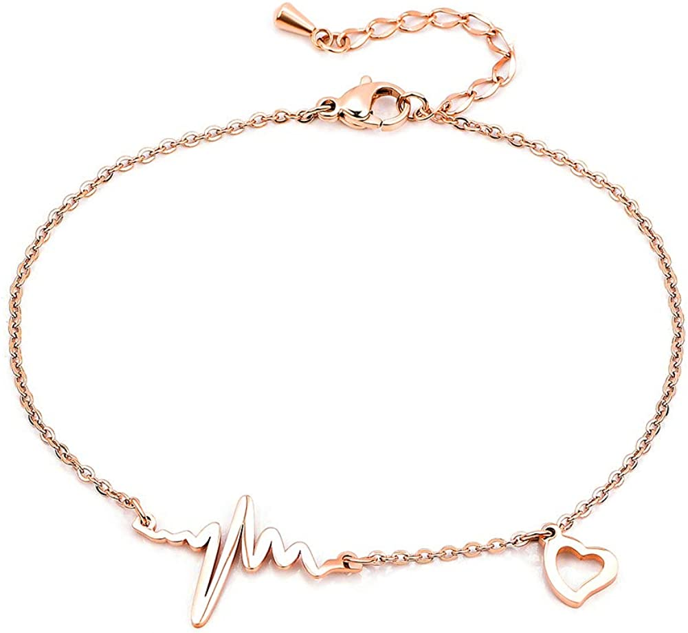JewelryPal Sexy Cute Ankle Foot Chain Bracelet Stainless Steel Adjustable Anklets for Women Girls