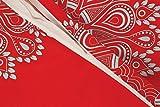 Bettwäsche 2 Teilig, Renforce-Baumwolle, Reißverschluss, 155x220 cm, Rot Grau, Mandala Boho - 4