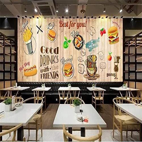 Wandbild, 3D Benutzerdefinierte Wandbild Wohnzimmer Retro Holz Essen Hintergrund 3D Tapete Vliestapete, 274Cm (B) X 254Cm (H)