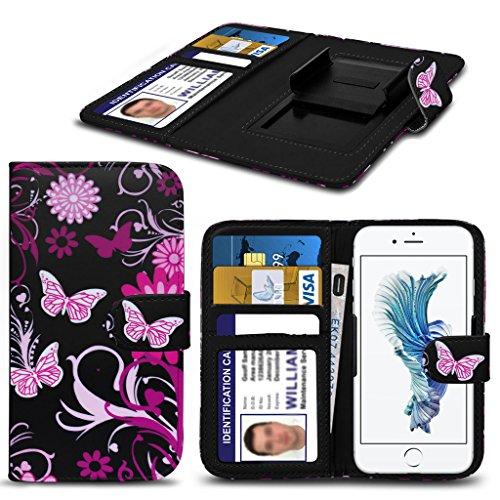 ( Pink Flower Butterfly 76 x 154) PRINTED DESIGN Handytasche für UMi Touch Tasche Hülle Beutel Qualitäts-Thin-Leder-Buch-Art-Beutel Federklammer Clip auf Adjustable Buch Kunstleder-Frühlings-Klammern-justierbarer Schlagfalldeckel Haut mit Kredit- / Debit by i-Tronixs