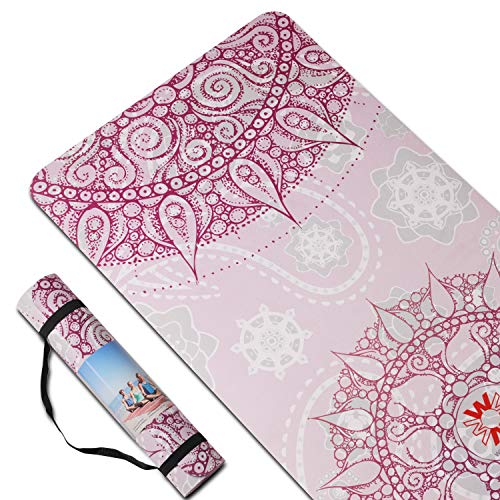 PIDO Yoga Mat 7mm Thick and Long Printed Suede + TPE Fitness Mat Gym 72'X24' Non-Slip Dance Mat (E)