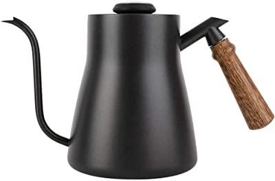 850ml Stainless Steel Drip Over Coffee Kettle Gooseneck with Wooden Handle Coffee, Tea & Espresso Appliances(With thermometer)