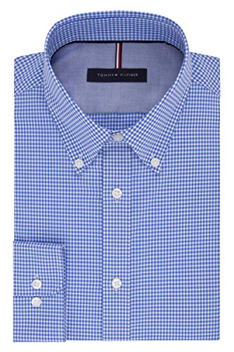 Tommy Hilfiger Men's Dress Shirt Slim Fit Non Iron Gingham, English Blue, 17