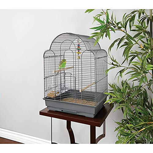 Petco Brand - You & Me Parakeet Scallop Top Cage, 16.5 in, Grey