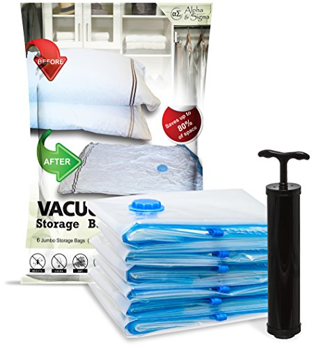 Alpha & Sigma 6 Vacuum Compression Storage Bags Jumbo Size (40 x 32 in) with Air Pump | Reusable, Ergonomic, Puncture Resistant & Waterproof | Organize Your Clothes, Optimize Suitcase Space, Enhance