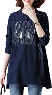 TT WARE Linen Embroidery Long Sleeve Button Neck Blouse-Blue-XL