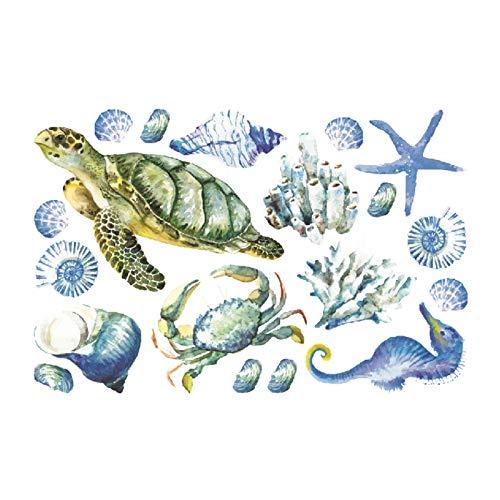 GeKLok Calcomanías de pared de algas marinas zócalo de algas marinas con bordeo de planta, adhesivo de pared de papel extraíble, arrecifes de coral, arte de peces murales para habitación