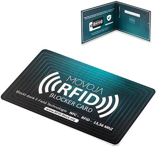 RFID NFC 13,56 Blocker Karte | Erhöhter Schutzradius | Neuste Technologie | Deutsche Marke | Keine Schutzhüllen mehr nötig | E-Field Technologie | MOVOJA | Bankkarte Reisepass Personalausweis