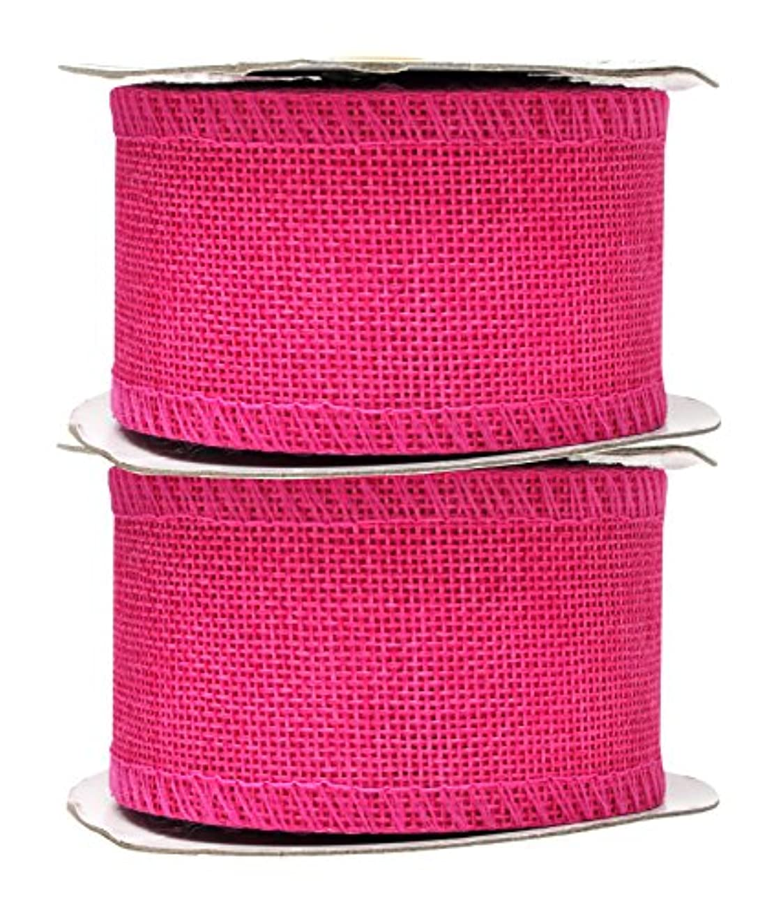 Mandala Crafts Burlap Ribbon, Jute Fabric Strip Spool for Rustic Ornament, Wreath Making, Holiday Decorating, Gift Wrapping (Hot Pink, 2 Inches)