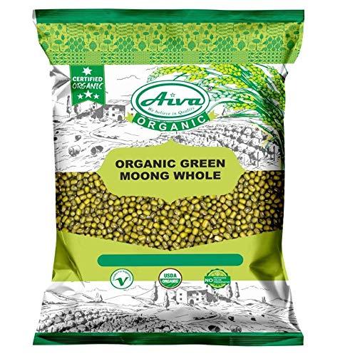 AIVA ORGANIC MOONG Whole (Green Mung Bean) - USDA Certified 4 LB