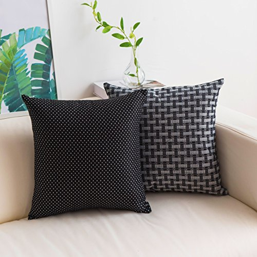 Home Brilliant Black Cushion Cover 2 Pack Lined Linen Throw Pillow Covers Square Decorative Cushion Covers for Sofa/Living Room, 18 x 18 45x45cm, Black/White