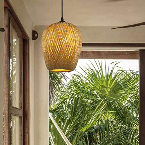 Handgeflochten Pendellampe aus Bambus, Holzdeckenleuchte Holzlampe, Bambus Lampenschirm, Retro Style Laterne Pendelleuchte, Handarbeit Bamboo Rattan Lampe E27,A
