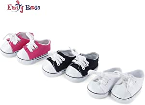 Emily Rose 18 Inch Doll Clothes  Versatile Canvas Doll Sneakers Basics Value 3-Pack, Including Bright Pink, White and Black Tennis Shoes  Fits American Girl Dolls