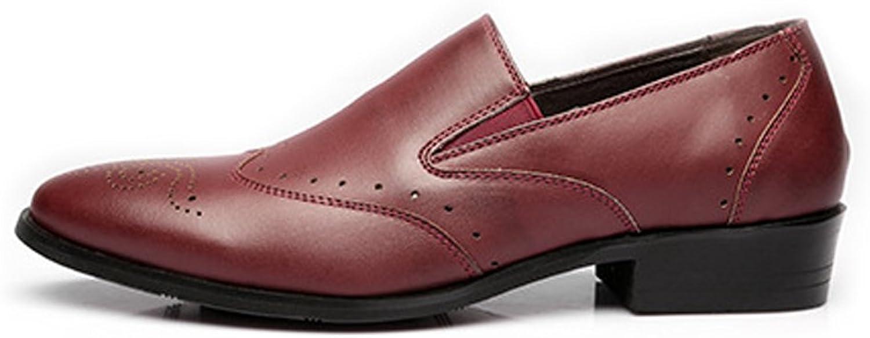 Herren Low Top Business Schuhe Matte Atmungsaktiv Hohl Carving PU-Leder Slip-on Ausgekleidet Oxfords (Farbe   Wein, Größe   25.5CM)