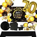 Fiesta Cotigo Pack de Artículos para Fiesta Cumpleaños Número 70-Decoración de Globos Cumpleaños,Set de Vajilla Desechable y Accesorios-Temática Negra y Dorada para Adultos Hombres y Mujeres