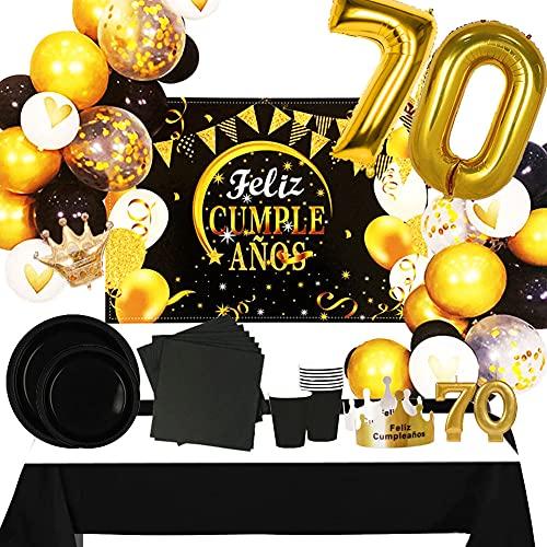 Fiesta Cotigo Pack de Artículos para Fiesta Cumpleaños Número 70-Decoración de Globos Cumpleaños,Set de Vajilla Desechable Cartón y Accesorios-Temática Negra y Dorada para Adultos Hombres y Mujeres