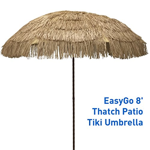 EasyGo - 8' Thatch Patio Tiki Umbrella – Tropical Palapa Raffia Tiki Hut Hawaiian Hula Beach...