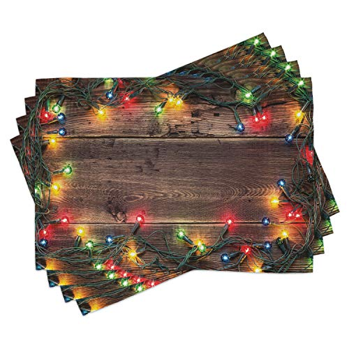 Ambesonne Christmas Place Mats Set of 4, Christmas at Countryside Theme Rustic Home Wooden Planks Borders Natural Design, Washable Fabric Placemats for Dining Room Kitchen Table Decor, Umber Green