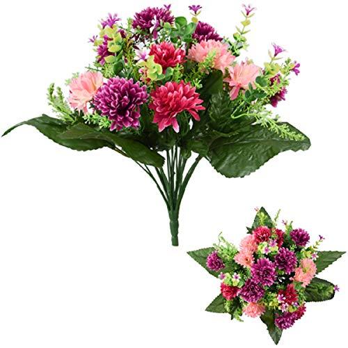 Künstlicher Chrysanthemenstrauß in Pink und Weinrot, 41 cm
