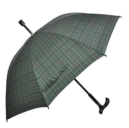 Regenschirm Stützschirm Gehstock Gehhilfe mit Fritzgriff & Gummipuffer karo grün